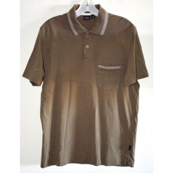 aa5c6fab Hugo Boss Shirts | Boss Olive Khaki Slim Fit Polo Shirt L | Poshmark